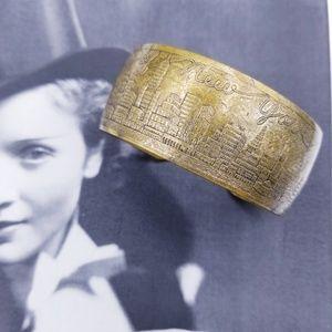 Vintage brass 30s Souvenir of New York Bracelet